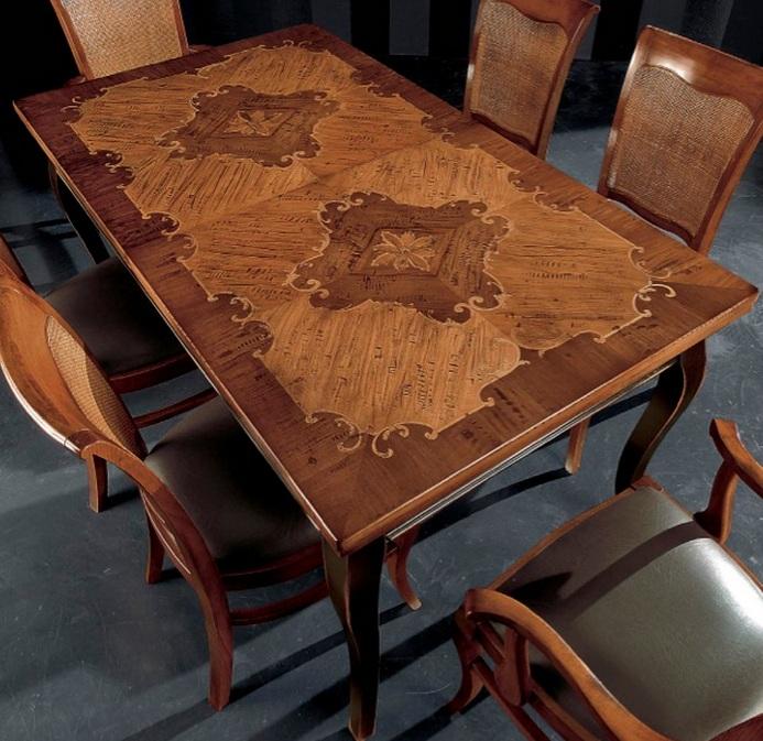 Tavoli tavolini d 39 arredo tavolo da pranzo intarsiato for Tavolo legno intarsiato