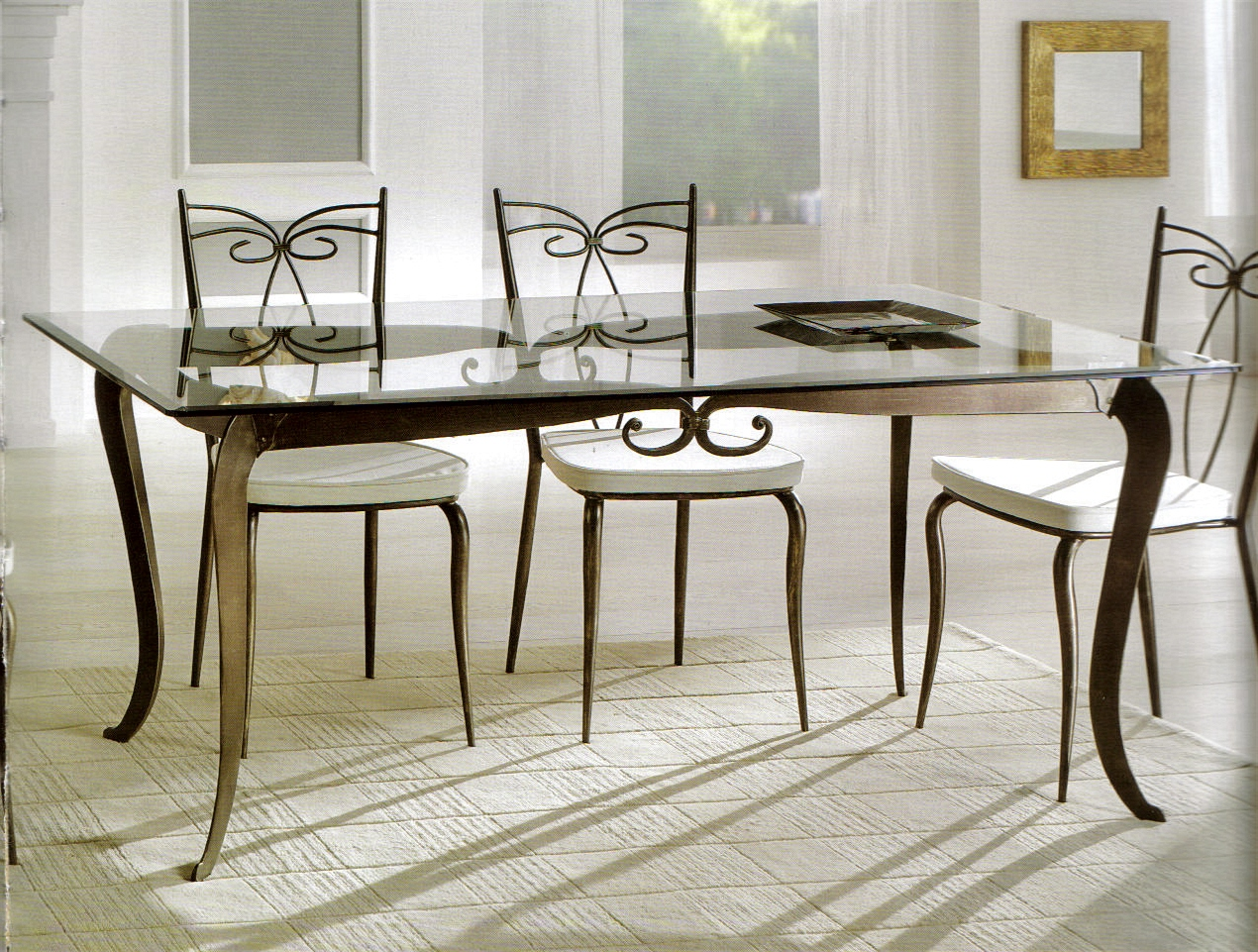 Tavoli tavolini d 39 arredo tavolo ferro battuto e vetro - Tavoli da pranzo ferro battuto e vetro ...