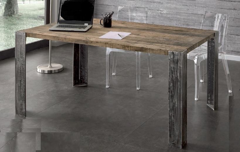 Tavoli tavolini d 39 arredo tavolo massello rovere gambe ferro for Tavoli di design in ferro