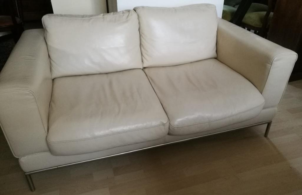 Mobili occasioni outlet divano 2 posti vera pelle colore avorio - Mobili occasioni ...